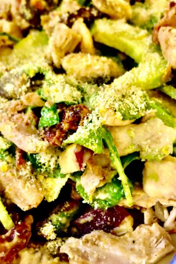 PALEO WHOLE30 WARM SPINACH & CHICKEN SALAD WITH SPICY CANDIED PECANS AND DIJON DRESSING
