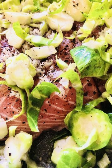 KETO LOW-CARB PALEO BAKED SALMON AND BRUSSELS SPROUTS