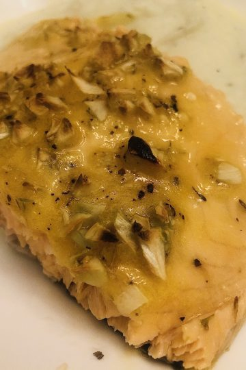 "PALEO WHOLE30 KETO BAKED SALMON WITH LEMON, ""HONEY"", AND THYME"