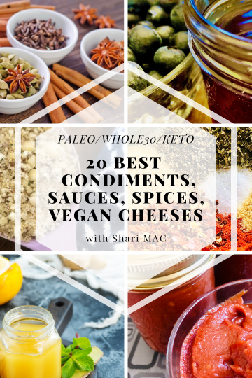 PALEO WHOLE30 KETO 20 BEST CONDIMENTS, SAUCES, SPICES, VEGAN CHEESES