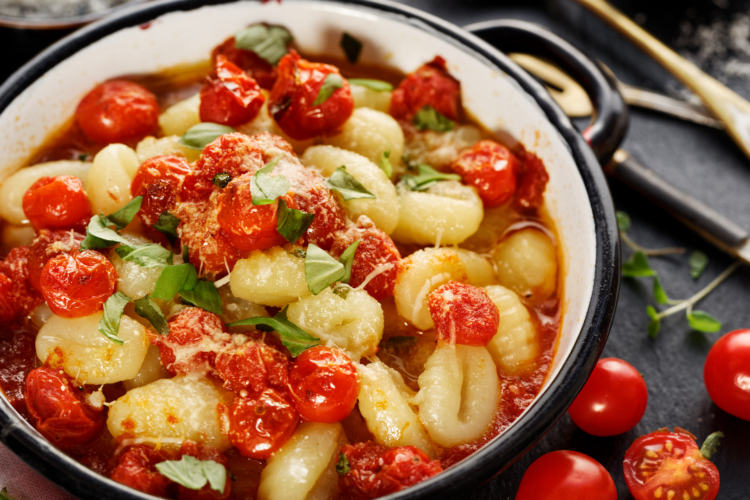 KETO LOW-CARB PALEO PAN-FRIED GNOCCHI WITH TOMATOES, PARMESAN, AND FRESH BASIL